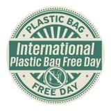 O saco de plástico internacional livra o dia ilustração royalty free