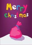 O saco de Santa deixado em uma neve no papel cortou o estilo Imagens de Stock