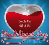 O saco lustroso do sangue gosta de um coração para o dia do doador de sangue, ilustração do vetor ilustração do vetor