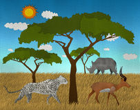 O safari africano com leão e impala do elefante fez o papel recicl formulário Imagens de Stock Royalty Free