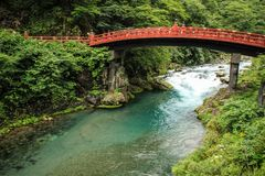 O ` sagrado da ponte do ` da ponte de Shinkyo, Nikko, prefeitura de Tochigi, Japão foto de stock royalty free