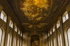 O Salão pintado, faculdade naval real velha imagens de stock royalty free