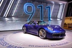 89.o salón del automóvil internacional de Ginebra - cabriolé de Porsche 911 Carrera 4S foto de archivo libre de regalías