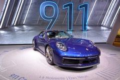 89.o salón del automóvil internacional de Ginebra - cabriolé de Porsche 911 Carrera 4S imágenes de archivo libres de regalías