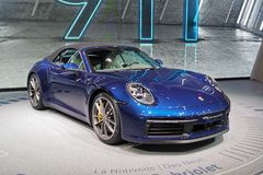 89.o salón del automóvil internacional de Ginebra - cabriolé de Porsche 911 Carrera 4S fotos de archivo libres de regalías