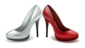 O salto alto clássico das senhoras calça o fundo vermelho e branco do branco do vetor ilustração stock