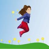 O salto da menina ilustração do vetor