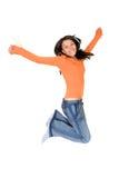 O salto da menina da alegria Fotos de Stock