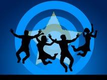 O salto do divertimento indica alegre feliz e Starred ilustração do vetor