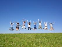 O salto do grupo Foto de Stock Royalty Free