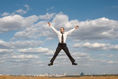 O salto do homem de negócios Imagem de Stock