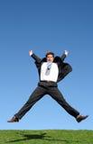 O salto do homem de negócios Foto de Stock Royalty Free