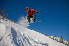 O salto do Snowboarder Imagem de Stock