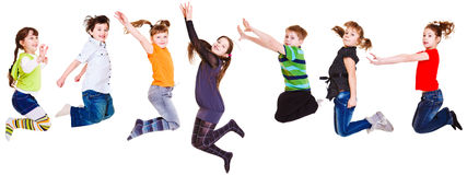 O salto dos miúdos Fotografia de Stock Royalty Free