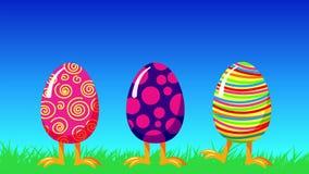 O salto louco dos desenhos animados eggs em uma grama verde Animação feliz do laço do cumprimento da Páscoa ilustração do vetor