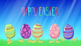 O salto louco dos desenhos animados eggs em uma grama verde Rotulação feliz da Páscoa Animação do laço do cumprimento ilustração royalty free