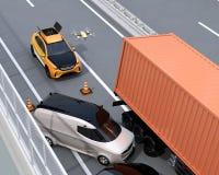 O salvamento elétrico SUV liberou o zangão ao acidente de trânsito de gravação na estrada ilustração do vetor