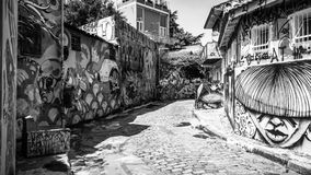 O Sao Paulo Alley Graffiti Beco faz Batman Monchrome foto de stock royalty free