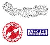 2.o sao poligonal Miguel Island Map y sellos del Grunge ilustración del vector