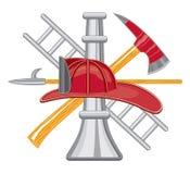 O sapador-bombeiro utiliza ferramentas o logotipo Fotos de Stock