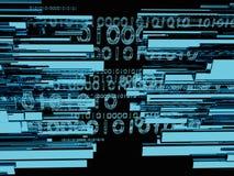 O saque do cabo da fibra com estilo da tecnologia contra o fundo 3d da fibra ótica rende Imagens de Stock