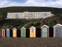 O saunton das cabanas da praia lixa Devon Fotografia de Stock