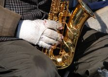 O saxofonista idoso Imagens de Stock