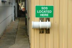 O SDS verde e branco encontrou aqui o sinal Imagens de Stock Royalty Free