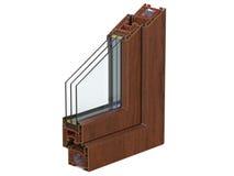 O seção transversal com um perfil do PVC da janela laminou a grão de madeira 3D rendem, isolado no fundo branco Foto de Stock