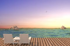 O seaview do por do sol com pares encalha a sala de estar na rendição 3D Foto de Stock