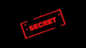 O segredo de borracha vermelho do selo da tinta assinado zumbe dentro e zumbe para fora com fundos da transparência do canal alfa filme