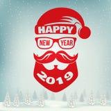 O selo do ano novo feliz, etiqueta ajustou-se com Santa Claus Ilustração do vetor ilustração do vetor
