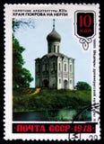 o selo do cargo impresso em URSS mostra a igreja da intercessão no rio de Nerl, cerca de 1978 Fotos de Stock