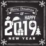 O selo do Feliz Natal e do ano 2019 novo feliz, etiqueta ajustou-se com flocos de neve, bola de suspensão do Natal, chapéu de San ilustração stock