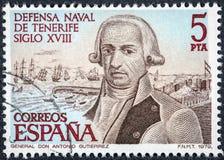 O selo impresso na Espanha mostra o general Antonio Gutierrez fotos de stock royalty free
