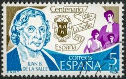 O selo impresso na Espanha mostra Juan B De La Salle fotografia de stock royalty free