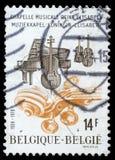 O selo impresso por Bélgica dedicou ao aniversário da capela da música da rainha Elizabeth Imagem de Stock Royalty Free