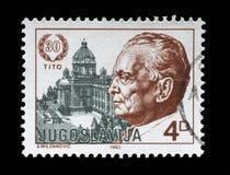 O selo impresso por Jugoslávia dedicou aos 1983 o 30o aniversário da eleição do presidente Josip Bro Tito Imagem de Stock Royalty Free