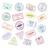 O selo ou o visto do passaporte assinam para a entrada aos países diferentes Símbolos do aeroporto internacional ilustração stock