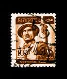O selo postal de Egito mostra o soldado - ` inscrito da DEFESA do `, trabalhador, soldado, serie da mesquita, cerca de 1953 fotos de stock