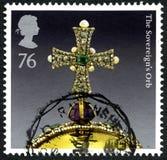 O selo postal do Reino Unido da esfera dos soberanos Fotos de Stock