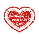 O selo vermelho do grunge na forma do coração com declaração do amor com linhas e espirra Imagem de Stock