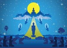 O senhor da caminhada de buddha para baixo do céu que para a visita e ensina olá! ilustração royalty free