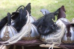O senhor da fantasia dos anéis: Capacetes de Rohirrim foto de stock