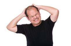 O sentimento asiático do homem sofre do problema emocional foto de stock