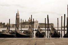 O Sepia tonificou a arquitectura da cidade de Veneza Imagens de Stock Royalty Free