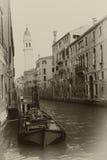 O Sepia tonificou a arquitectura da cidade de Veneza Imagem de Stock