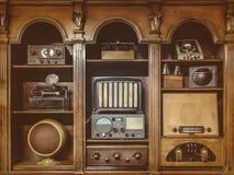 O Sepia tonificou a imagem do ` de rádio velho s fotografia de stock