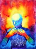 O ser humano e a energia poderosa da conexão do espírito conectam ao universo ilustração stock