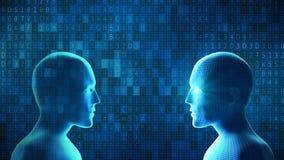 O ser humano luta o robô com código de dados do computador digital no backg azul ilustração stock